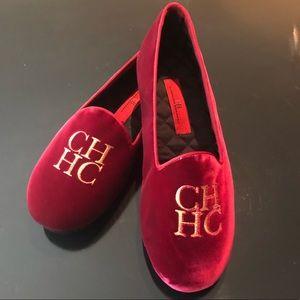 Men's Carolina Herrera Red Velvet Slippers